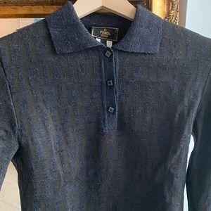 Vintage Authentic Fendi FF Logo Wool Sweater